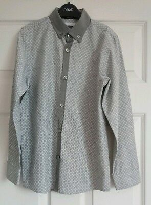 Next Boys Grey/white Patterned Shirt Age 9 Years (Height 134Cm)