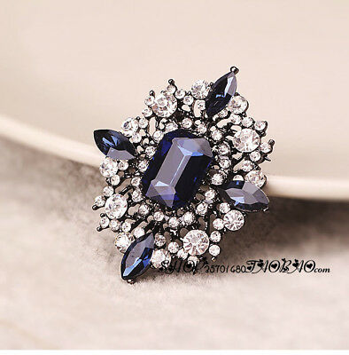 Jewelry Broaches Blue/Red Flowers Scarf Clips Pin Crystal Pin Wedding Brooch
