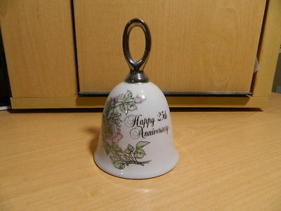 Vintage 1983 Enesco Bell Happy 25th Anniversary with Silver Trim Pink Roses Stem