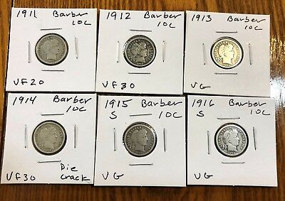 6X 10C Barber Dime Lot - Really nice coins - See pics!