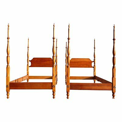 Vintage Pair Twin XL Size STICKLEY Cherry Valley Chippendale Tall Poster Beds