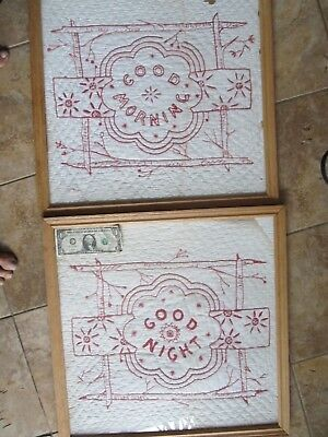 UNIQUE Pair of LARGE Embroidered ANTIQUE New England Quilt Blocks, 1890, Crafts