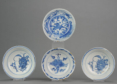 Lot of 4 Chinese 16/17th Porcelain Ming China Bowls Horse & Valuables[:z...