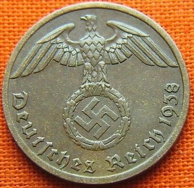 Wwii German 1938 - A 1 Reichspfennig 3Rd Reich Bronze Nazi Germany Coin (Wc0094)