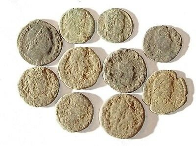 10 ANCIENT ROMAN COINS AE3 - Uncleaned and As Found! - Unique Lot 01119