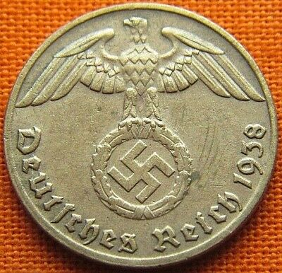 Wwii German 1938 - G 1 Reichspfennig 3Rd Reich Bronze Nazi Germany Coin (Wc2009)