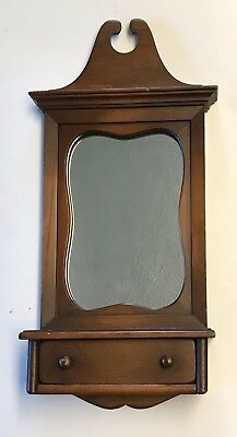 """Vintage Mahogany Hall Mirror w/Drawer Hanging Chippendale 20"""" Wood Unique Wall"""