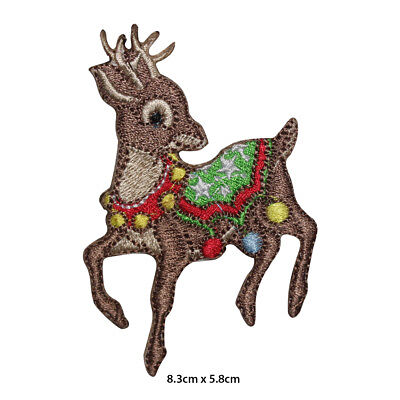 Christmas Deer Xmas Embroidered Patch Iron on Sew On Badge For Clothes etc
