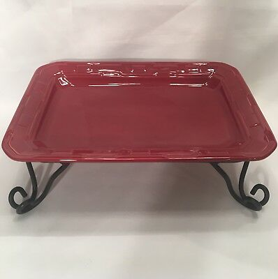 USA Longaberger Pottery Rectangle Serving Tray & Wrought Iron Stand