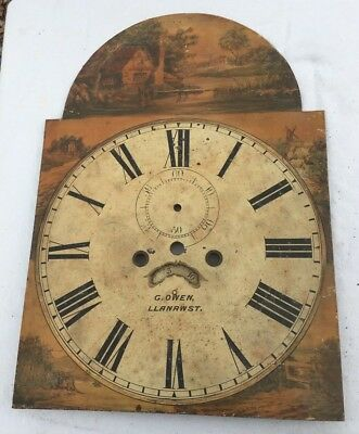 """Antique Longcase/Grandfather Clock Dial This Is 8day G Owen Llanrwst 20""""by14"""""""