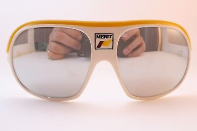 Vintage early 70s ski sports sunglasses Merit made in Italy mirrored lenses Exc