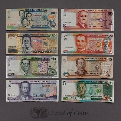 PHILIPPINES: Set of 8 Philippine Piso banknotes