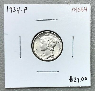 1934-P U.s. Mercury Dime ~ Ms/unc++++ Condition! C1192