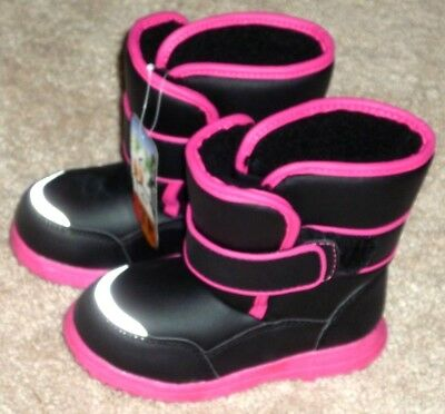 Girls Toddler Size 9 Pink & Black Winter Snow Boots - Brand New!