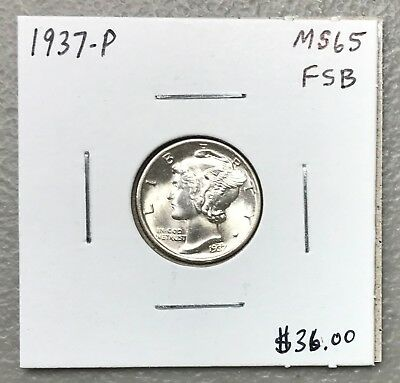 1937-P U.s. Mercury Dime ~ Ms/unc+++++ Fsb Condition! C1195