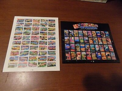 2 Sheets of US Postage Stamps Wonders of America and Greetings from States