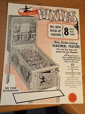 "190's United's ""PIXIES"" Bingo Pinball Advertising Flyer"