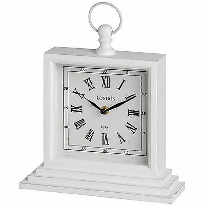 Antique White Sturdy Square London Mantel Desk Shelf Table Clock With Handle