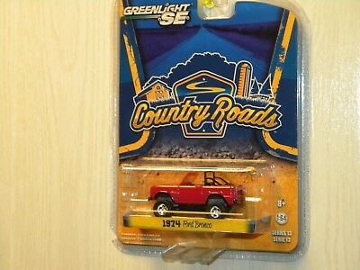Greenlight Collectible 2015 Country Roads 1974 Ford Bronco Burgundy Paint
