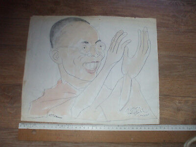 TIBET  very rare      DRAWING  autograph DALAI LAMA  SIGNED