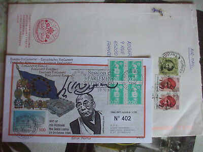 TIBET  very rare FIRST DAY COVER FRANCE   autograph DALAI LAMA  SIGNED  1996