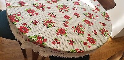 "Vintage Holiday or Christmas 64"" Round Tablecloth w Bells Green Polkadots Fringe"