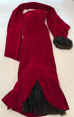 Vintage Red Velvet Evening Gown with Tulle Flare/ Fur accented Wrap Sz. Small