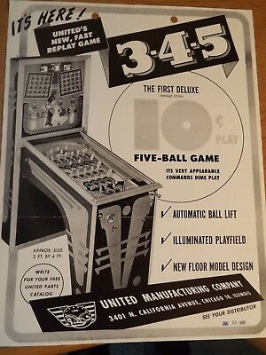 "1951 United's ""3-4-5"" Bingo Pinball Advertising Flyer"