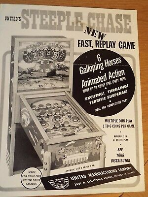 "1951 United's ""STEEPLE CHASE"" Bingo Pinball Advertising Flyer"