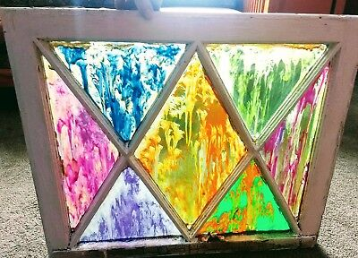 Antique segmented windowframe 1910-Vintage psychedelic painting on glass.
