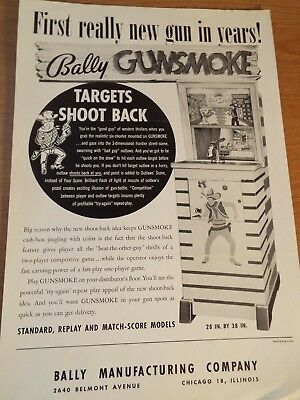 "1960's Bally's ""GUNSMOKE"" pistol shooting gallery Pinball Advertising Flyer"