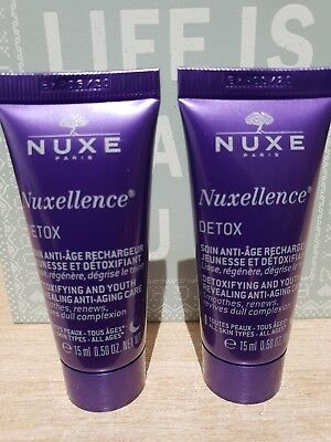 ❤❤ 2 x NUXE Nuxellence Anti-Aging Youth Revealing Face Cream Detox 15ml Each ❤❤