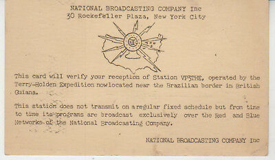 QSL card VP3THE Terry Holden Expedition Broadcast from British Guiana 1937