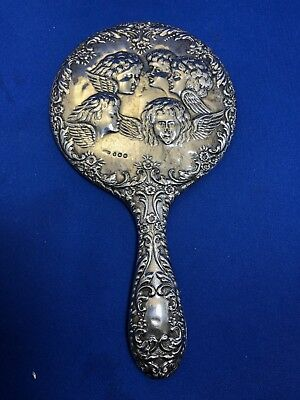 English Hallmarked Sterling Silver Art Nouveau Mirror Dated 1911