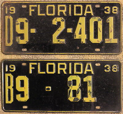 Vintage 1938 Florida State-Issued Automobile License Plates
