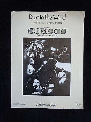Dust in the Wind Vintage Sheet Music KANSAS 1978 Piano Vocal Guitar Song Lyrics