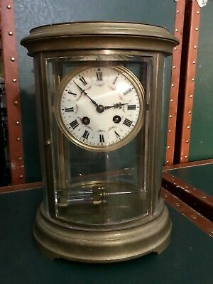 Antique French Samuel Marti Regulator Round Desk Clock Brass From 1900