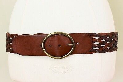 Fossil Braided Brown Leather Wide Hip Belt 36-40 inches Brass Buckle Rivets
