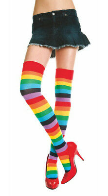 One Size Fits Most Womens Rainbow Striped Thigh Highs, Rainbow Thigh High Socks