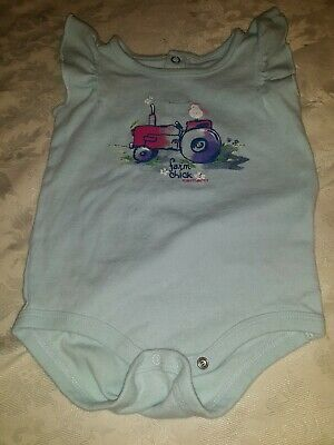 /'lil farm chick/' Carhartt infant girls 1-piece pink w//aqua tractor flowers