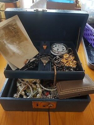 Old Jewellery Box And Contents