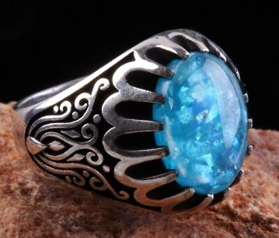 Turkish Handmade  925 Sterling Silver Agate Mens Ring Sz 9 Free Resize-102