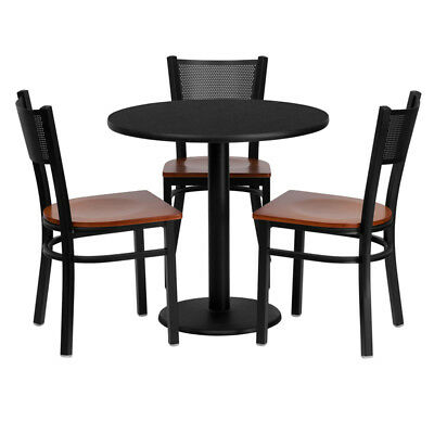 Flash Furniture Round Table Set With 3 Grid Back Metal Chairs - Cherry Wood Seat