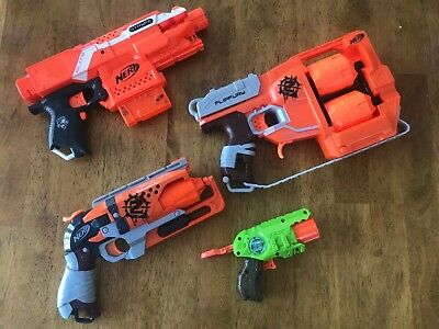 Nerf Gun Lot - Zombie Strike And Elite Guns (4 Total) Used- Good Condition