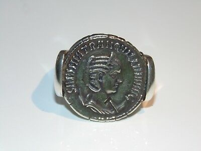 Artisan Made Replica of Ancient Roman Coin Caesar Signet Rings US Size 8 925