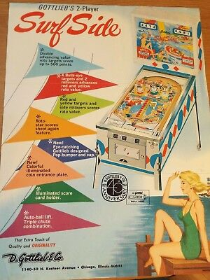 "1960's Gottlieb's ""SURF SIDE"" Pinball Advertising Flyer"