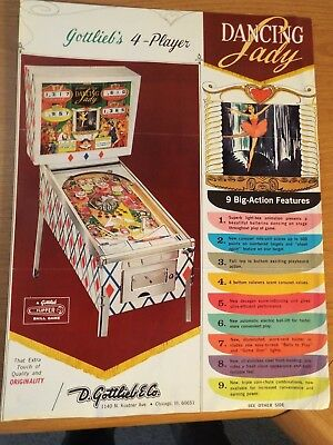"1960's Gottlieb's ""DANCING LADY"" Pinball Advertising Flyer"