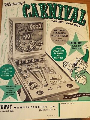 "1960's Midway's ""CARNIVAL"" Pinball Advertising Flyer"