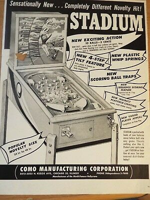 "Rare 1940's Como Mgft. Corp. "" Stadium"" Pinball Advertising Flyer"