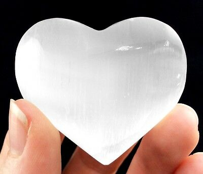 Lg Natural Polished PUFFY Heart Selenite Crystal Palm Stone Carved Worry Stone